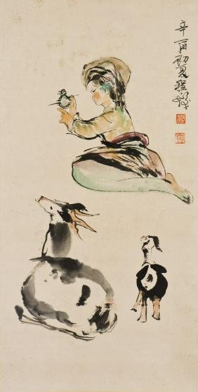 A CHINESE PAINTING OF SHEPERD GIRL, AFTER CHENG SHIFA
