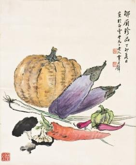 A CHINESE SCROLL PAINTING OF VEGETABLE, AFTER HUANG
