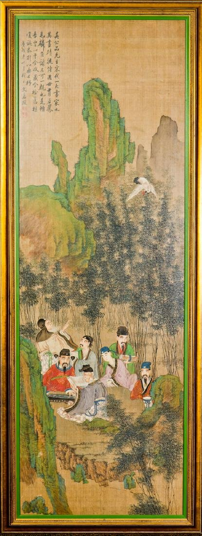 A FRAMED SILK PAINTING OF FIGURAL MOTIF, AFTER WEN JIA