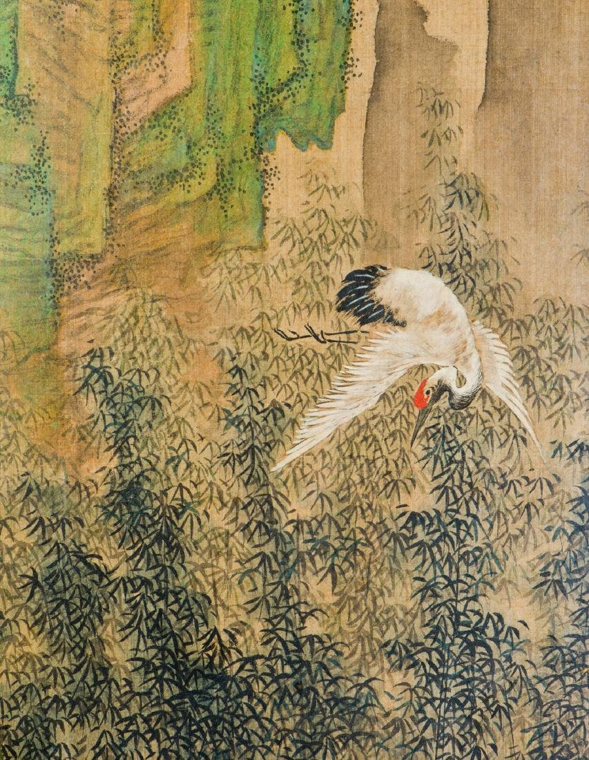 A FRAMED SILK PAINTING OF FIGURAL MOTIF, AFTER WEN JIA - 3