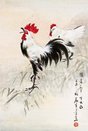 A CHINESE PAINTING OF ROOSTERS