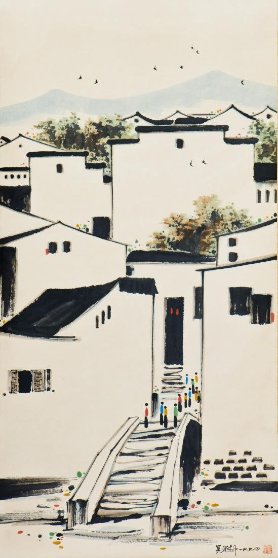 A CHINESE PAITING OF JIANGNAN MOTIF, AFTER WU GUANZHONG