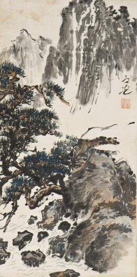 A CHINESE SCROLL PAINTING OF LANDSCAPE MOTIF, AFTER XIE