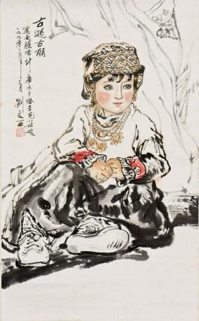 A CHINESE PAINTING OF A GIRL, AFTER LIU WENXI