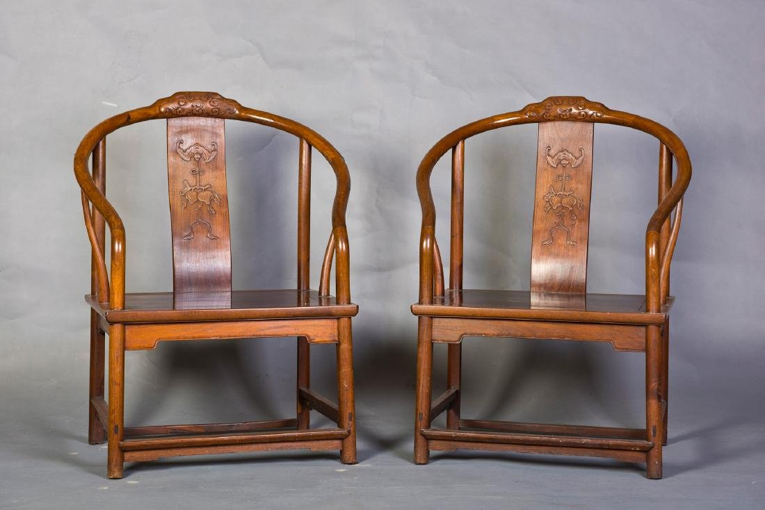 A PAIR OF CHINESE HUANGHUALI OR HARDWOOD CHAIRS