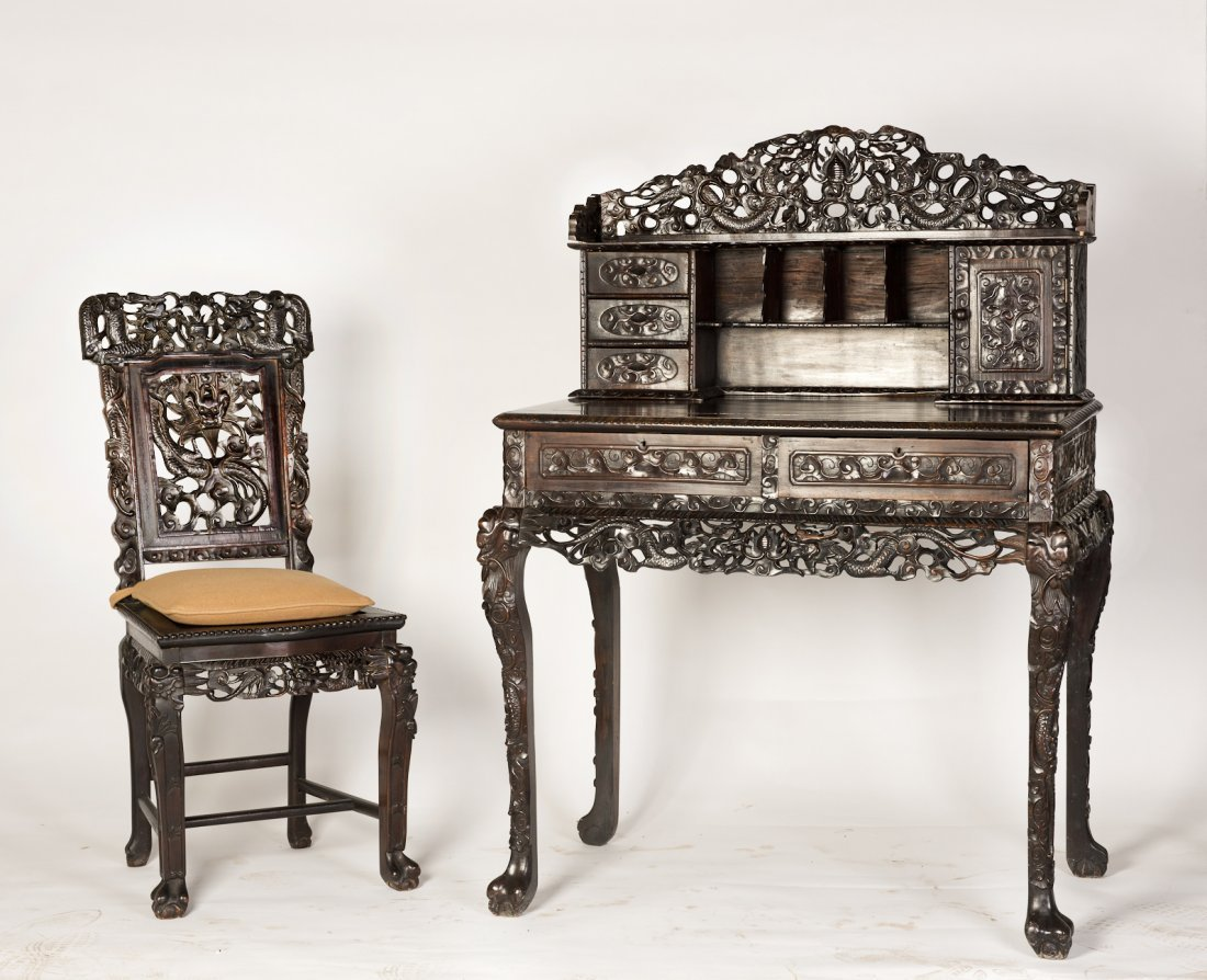 A ROSEWOOD CHINESE STYLE DRESSER WITH MATCHING CHAIR