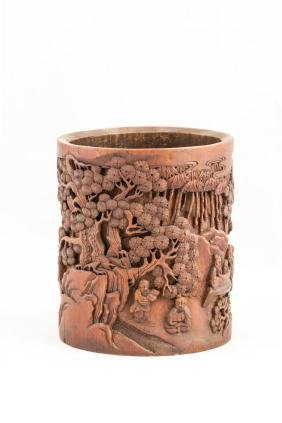 CARVED CHINESE BAMBOO BRUSH POT