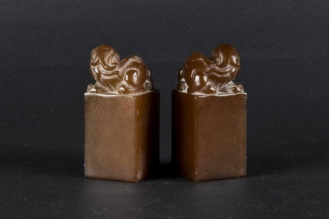 A PAIR OF SEAL-SHAPED BEAST SOAPSTONES - 2