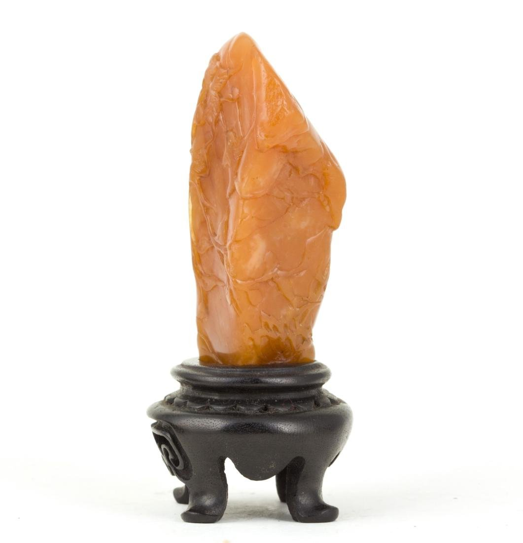 A SOAPSTONE ORNAMENT WITH WOODEN BASE - 4