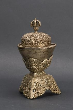 TIBET TIBETAN SILVER PAGODA