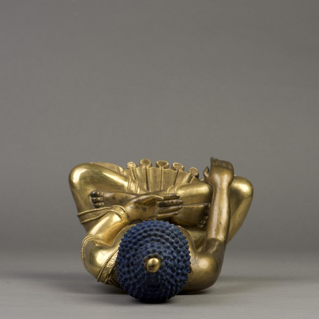 A GILT BRONZE SCULPTURE OF LONGEVITY BUDDHA - 5