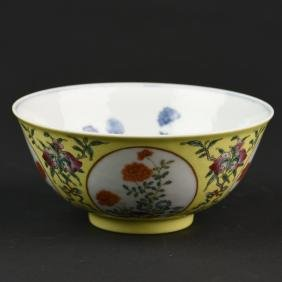 A CHINESE YELLOW GROUND PORCELAIN BOWL