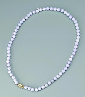 TRANSLUCENT LAVENDAR JADEITE JADE NECKLACE, GIA
