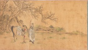Chinese Scroll Ancient figure and Horse Painting