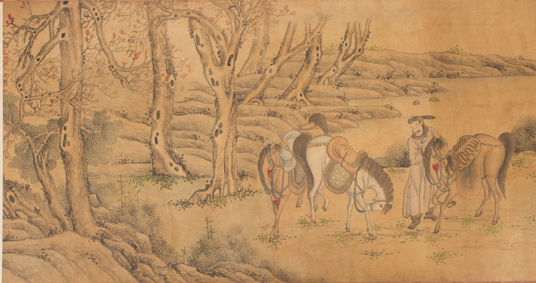 Chinese Scroll Ancient figure and Horse Painting - 3