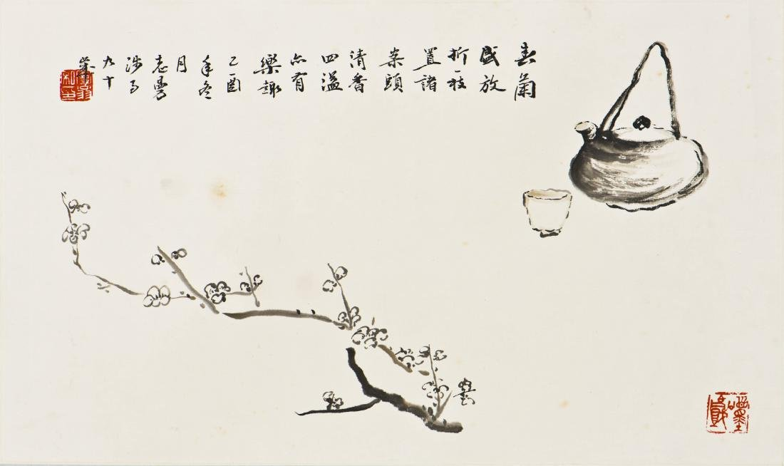 A CHINESE SCROLL PAINTING OF PLUM MOTIF