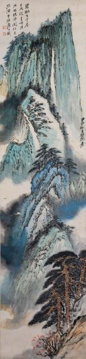 A CHINESE SCROLL PAINTING, AFTER ZHANG DAQIAN