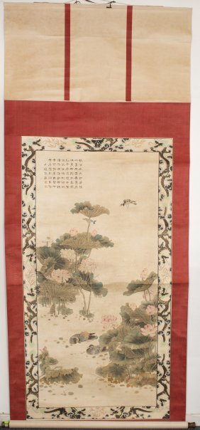 Chinese Lotus and Bird Scroll Painting