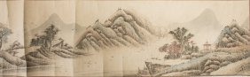 A HORIZONTAL CHINESE LANDSCAPE PAINTING