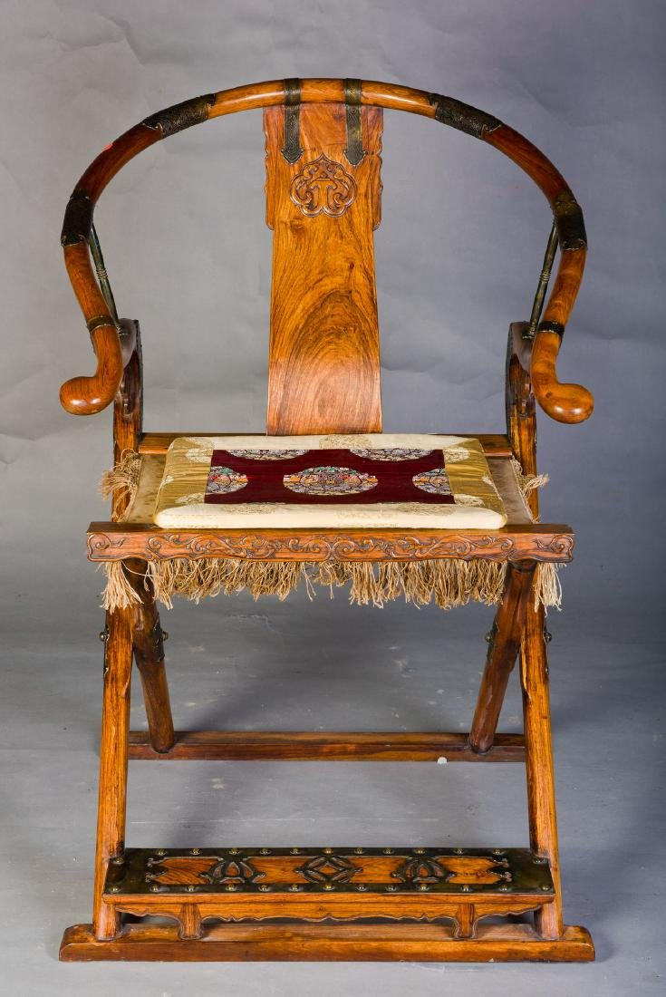 A CHINESE HUANGHUALI FOLDING CHAIR