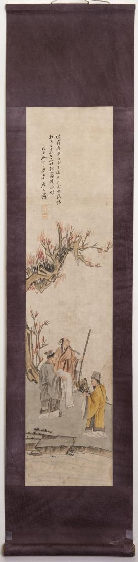 A CHINESE SCROLL PAINTING OF FIGURE, AFTER ZHANG DA