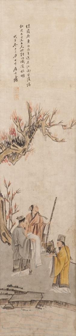 A CHINESE SCROLL PAINTING OF FIGURE, AFTER ZHANG DA - 3