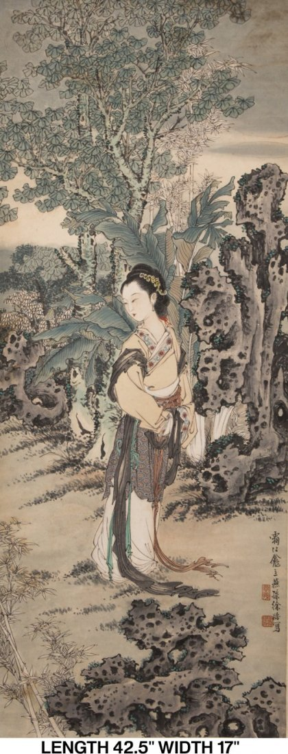 A SCROLL PAINTING OF CHINESE BEAUTY