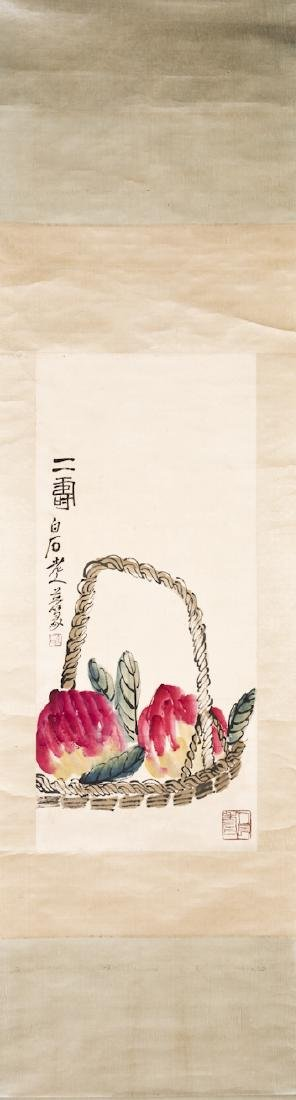 A Chinese Hanging Scroll Painting of peach - 2