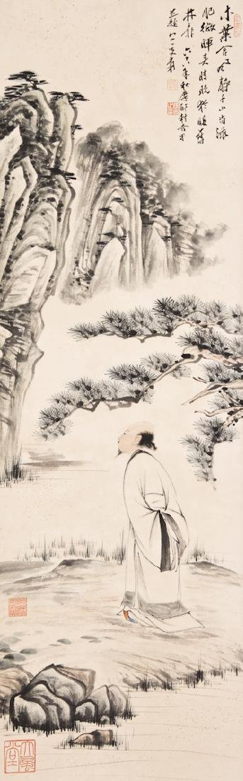 A Chinese Painting of a Scholar and Landscape