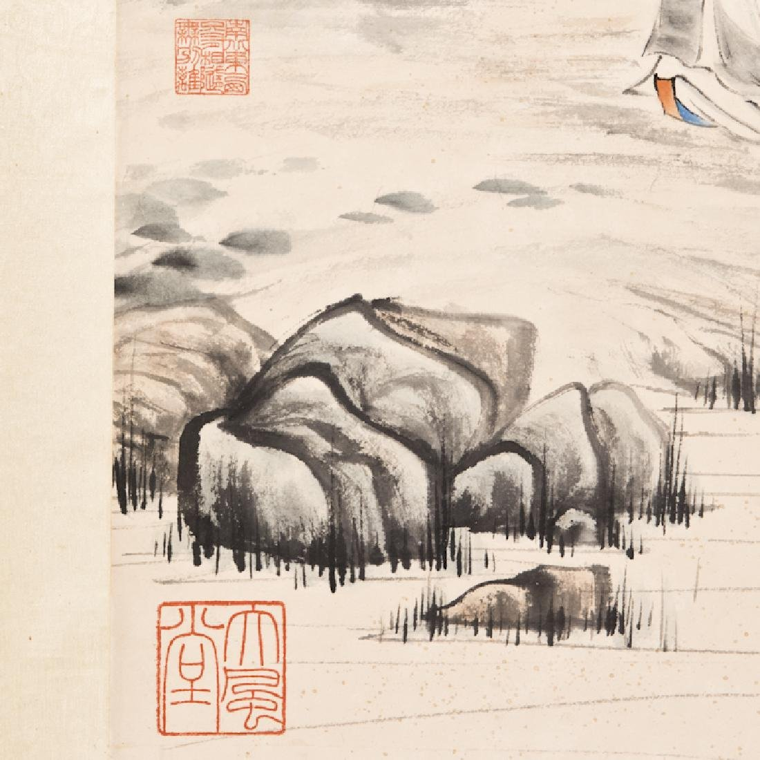 A Chinese Painting of a Scholar and Landscape - 4