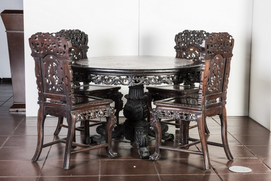 CHINESE ROUGE MARBLE-INSET TABLE AND FOUR CHAIRS