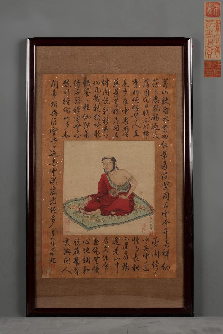 A CHINESE PAINTING OF LUOHAN