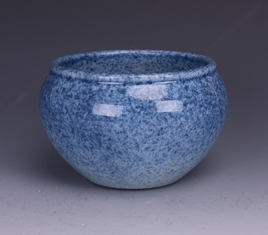 A CHINESE JIN-LAN GREEN GLAZE CYLINDERICAL BOWL