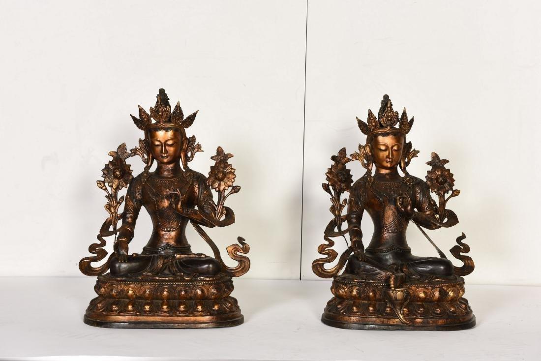 A SET OF TWO GILT-BRONZE BUDDHA