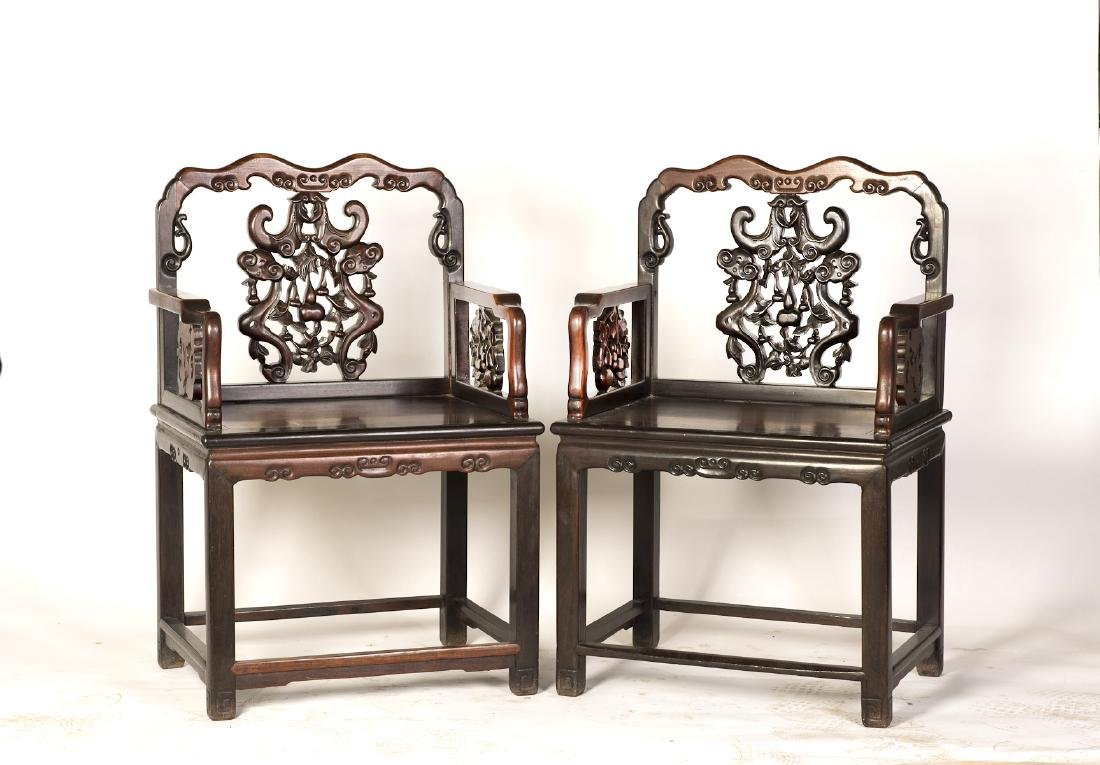 A PAIR OF CHINESE HARDWOOD CHAIRS