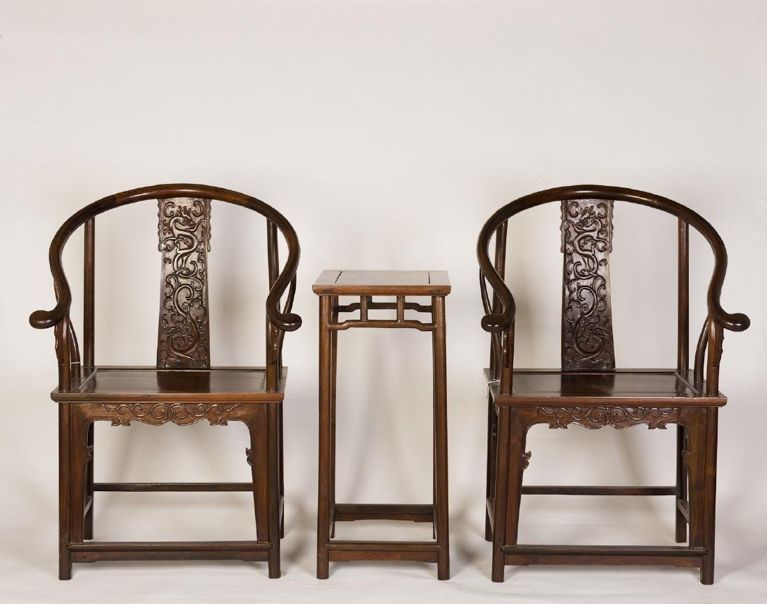 A SET OF CHINESE HARDWOOD CHAIRS