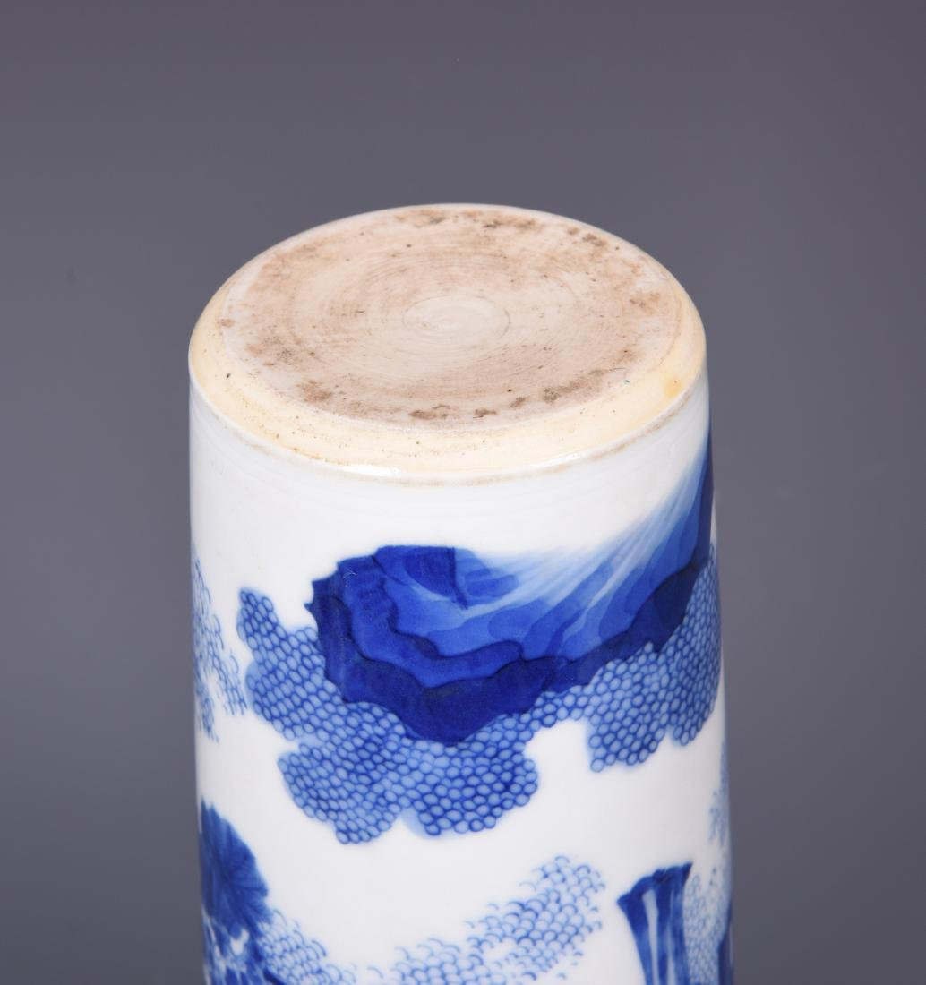 A BLUE AND WHITE PORCELAIN BRUSH POT - 10