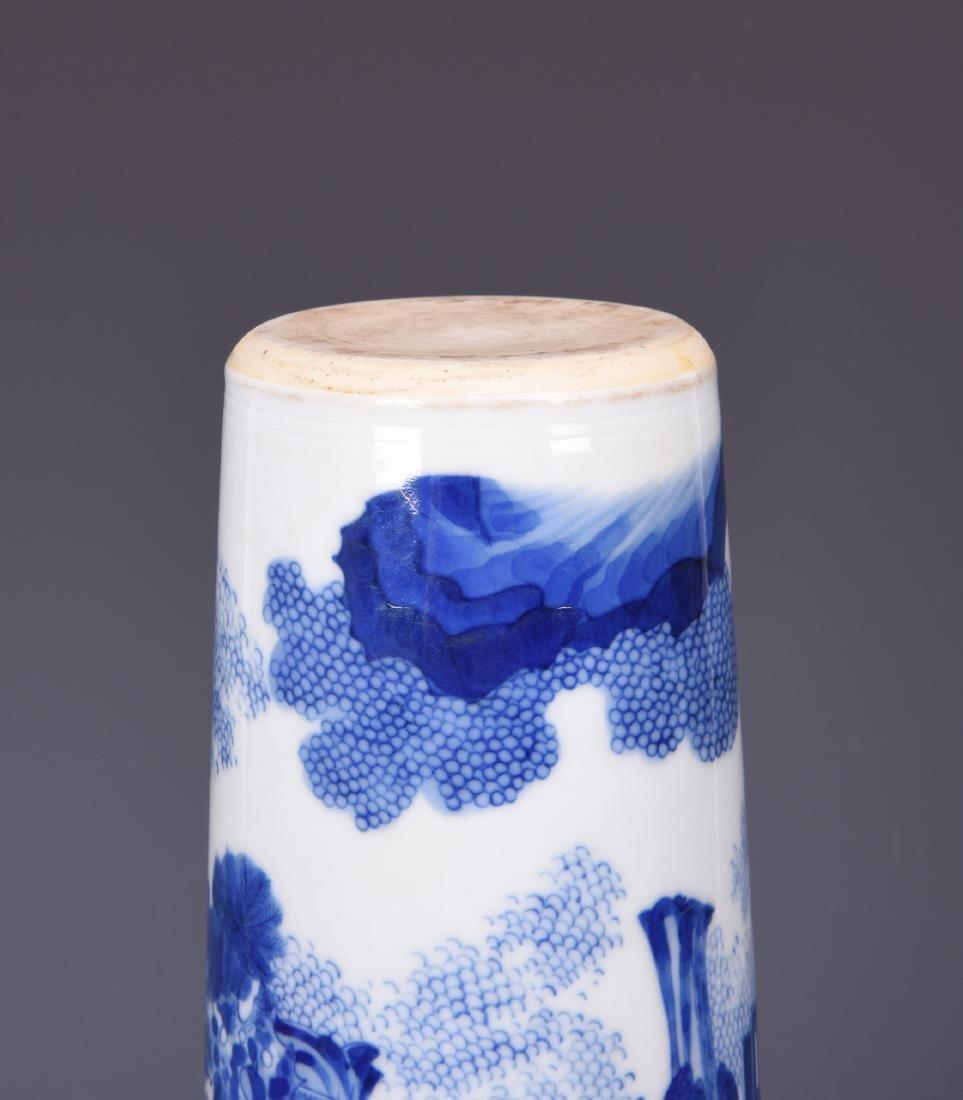 A BLUE AND WHITE PORCELAIN BRUSH POT - 12