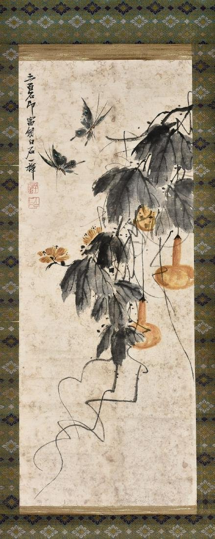 A CHINESE SCROLL PAINTING OF INSECT