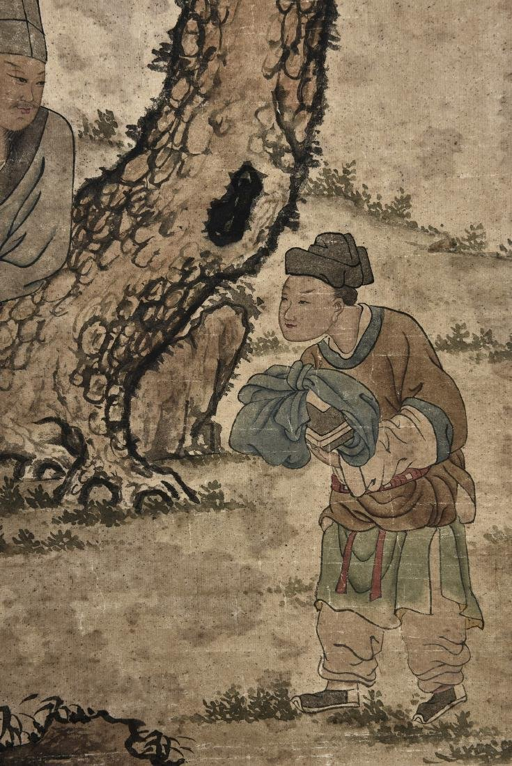 A CHINESE SCROLL PAINTING OF FIGURES - 7