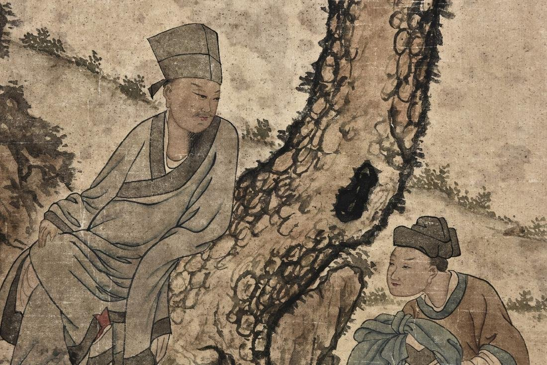 A CHINESE SCROLL PAINTING OF FIGURES - 8