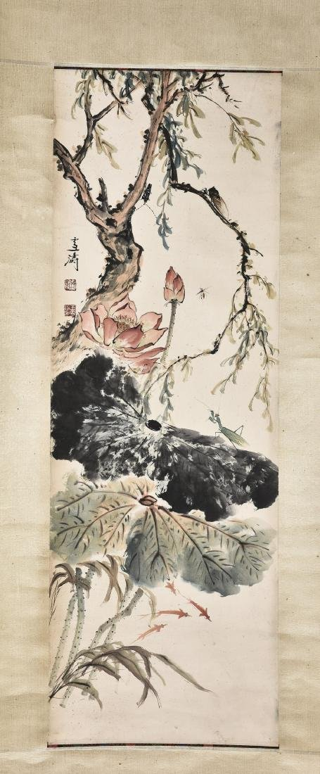 A CHINESE SCROLL PAINTING OF INSECT AND LOTUS