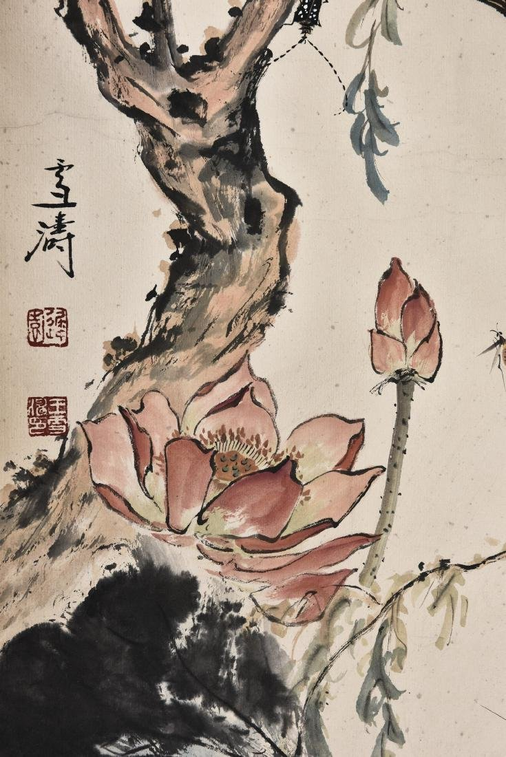 A CHINESE SCROLL PAINTING OF INSECT AND LOTUS - 4