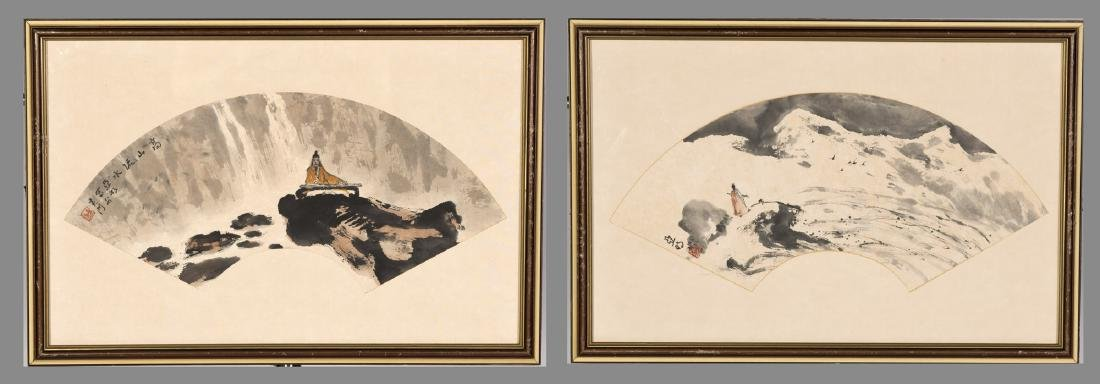 TWO CHINESE FAN LEAVES, YAMING