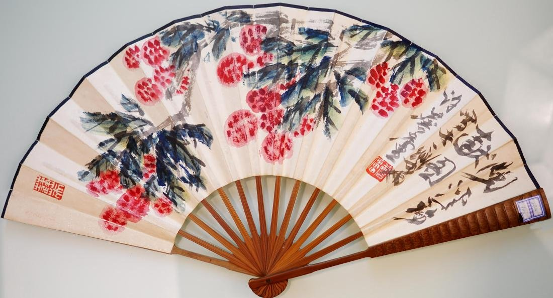 A CHINESE FAN PAINTING OF FLOWER