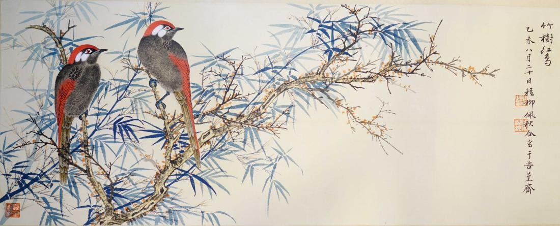 A CHINESE SCROLL PAINTING OF BIRDS AND BAMBOO