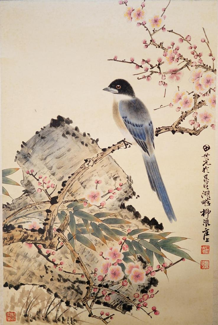 A CHINESE SCROLL PAINTING OF FLOWER AND BIRD