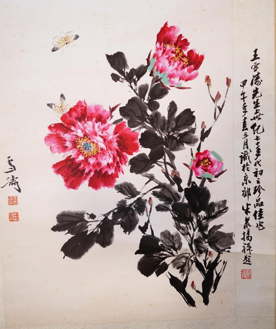 A CHINESE SCROLL PAINTING OF FLOWER