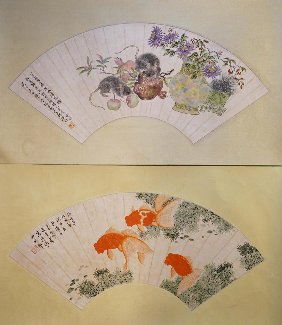 A PAIR OF CHINESE FAN PAINTINGS OF MOUSE AND GOLDFISH
