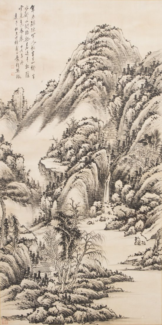 Chinese Framed Landscape Scenery Painting